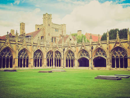 kent: Vintage looking The Canterbury Cathedral in Kent England UK