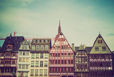 roemer: Vintage looking Roemerberg old city in Frankfurt am Main Germany