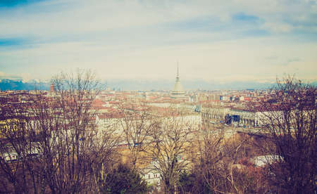 birdeye: Vintage looking City of Turin (Torino) skyline panorama seen from the hill Stock Photo