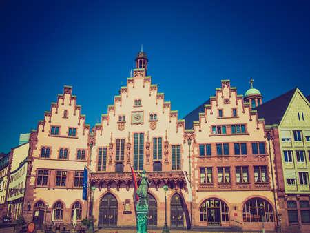 roemer: Vintage looking Frankfurt city hall aka Rathaus Roemer Germany Editorial