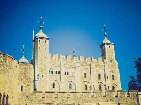Vintage looking The Tower of London medieval castle and prison photo