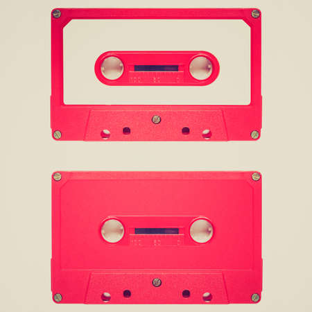 cassette tape: Vintage looking Magnetic tape cassette for audio music recording - isolated over white background