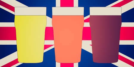 bitter: Vintage looking Three pints of British beer including lager, bitter over Union Jack