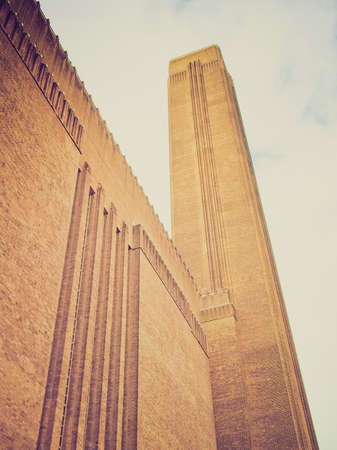 powerstation: Vintage looking Tate Modern art gallery in South Bank powerstation London England UK