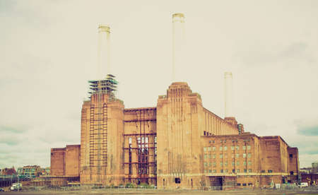 Vintage looking London Battersea powerstation, a landmark abandoned factory