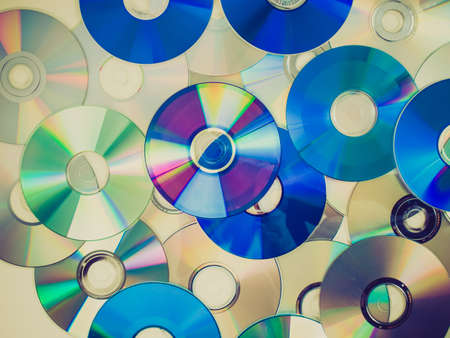 bluray: Vintage looking CD, DVD, BD (Bluray) optical discs for music, video and data storage