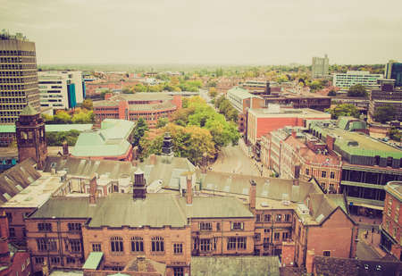 midlands: Vintage looking Panoramic view of the city of Coventry, England, UK Stock Photo
