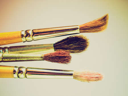 make dirty: Vintage looking Paintbrushes tools for oil or tempera or watercolor painting Stock Photo
