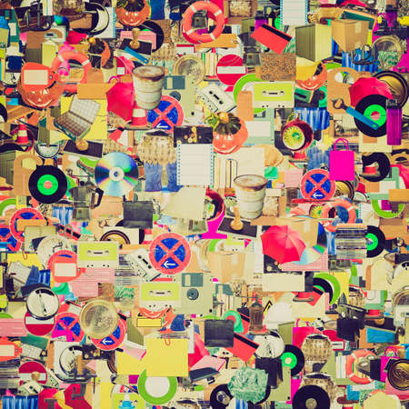 Vintage looking Collage of many object (all pictures in the collage are mine) photo