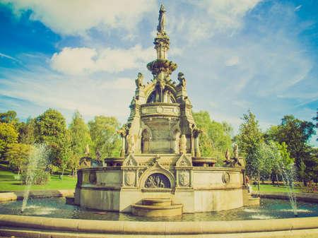 west end: Vintage looking The Stewart Memorial Fountain in Kelvingrove Park in Glasgow West End, Scotland Editorial