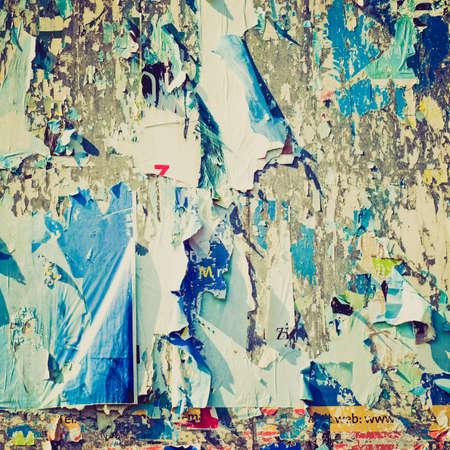 hoarding: Vintage looking Hoarding billboard coloured decollage useful as background