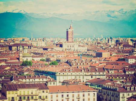 looking at view: Vintage guardando Vista della citt� di Torino, Torino dalla collina