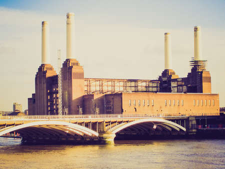 Vintage looking Picture of London Battersea powerstation abandoned factory photo