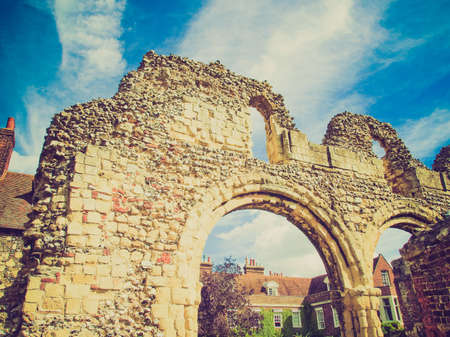 abbey ruins abbey: Vintage looking Ruins of St Augustine Abbey in Canterbury UK