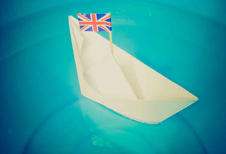 Vintage looking Paper ship with Union Jack UK Flag photo