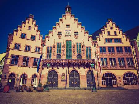 roemer: Vintage looking Frankfurt city hall aka Rathaus Roemer Germany Stock Photo