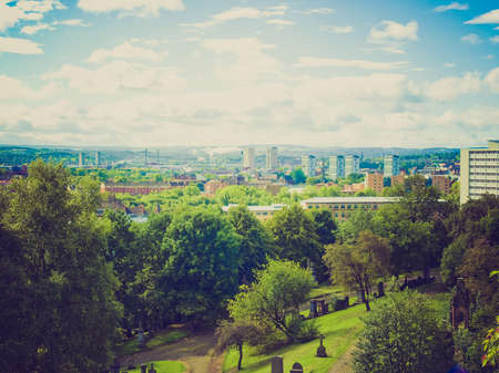 Vintage looking View of the city of Glasgow in Scotland photo