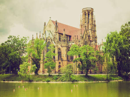 Vintage looking The Johanneskirche gothic church in Stuttgart, Germany photo