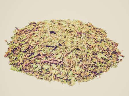 mentha: Detalle buscando vintage de las hojas secas de menta (Mentha piperita)