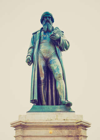 gutenberg: Vintage looking Gutenberg statue monument in Mainz in Germany - isolated over white background