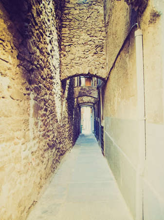 medioeval: Vintage looking Narrow streets in the old town of Aosta, Italy Stock Photo