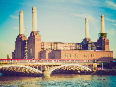 powerstation: Vintage looking Battersea Power Station in London England UK Stock Photo