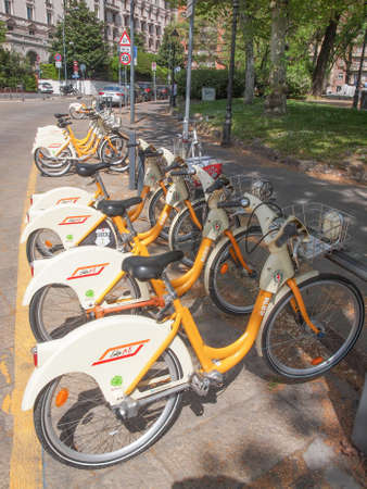 docking: MILAN, ITALY - APRIL 10, 2014: A docking station for the cycle hire network Editorial