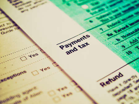 tax forms: Vintage looking Range of various blank USA tax forms