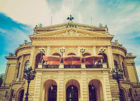 Vintage looking Alte Oper Old Opera House in Frankfurt am Main Germany photo