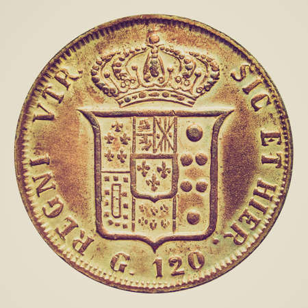 reign: Vintage looking Vintage Italian coin from the reign of Naples