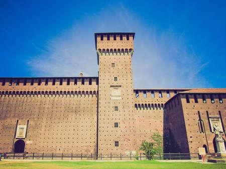 sforza: Vintage looking Castello Sforzesco (Sforza Castle) in Milan, Italy Editorial