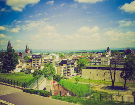 mainz: Vintage looking View of the city of Mainz in Germany