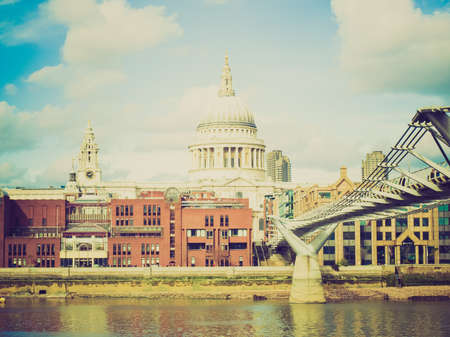 Vintage looking Saint Pauls Cathedral in the City of London, UK photo