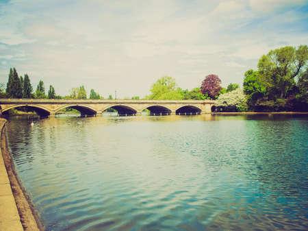 hyde: Vintage looking Serpentine lake river in Hyde Park, London, UK Stock Photo