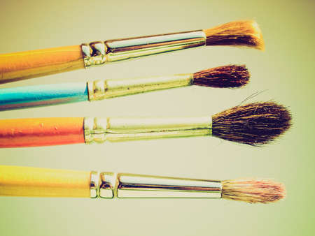 creativeness: Vintage looking Paintbrushes tools for oil or tempera or watercolor painting Stock Photo