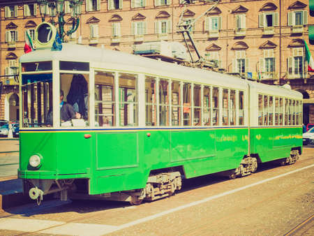 tramway: Vintage looking A vintage historical tramway in Turin, Italy Editorial
