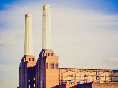 powerstation: Vintage looking London Battersea powerstation abandoned factory Stock Photo