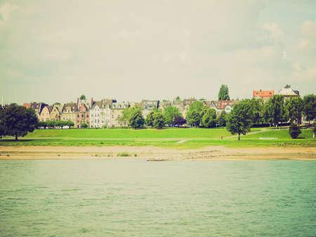 rhein: Vintage looking View of river Rhein (Rhine) in Duesseldorf, Germany