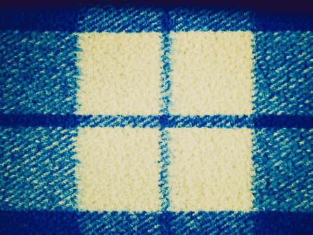 bedcover: Vintage looking Blue tartan wool fabric Stock Photo