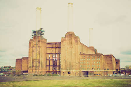 Vintage looking London Battersea powerstation, a landmark abandoned factory photo
