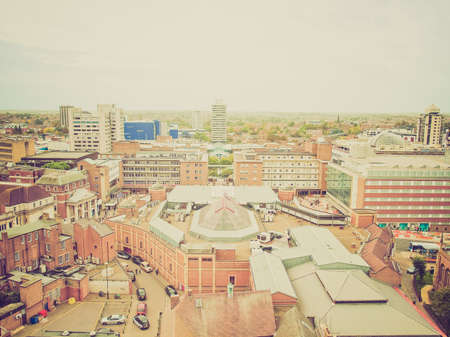 midlands: Vintage looking Panoramic view of the city of Coventry, England, UK Editorial