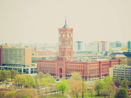 rathaus: Vintage looking Rotes Rathaus (The Red Town Hall), Berlin, Germany Editorial