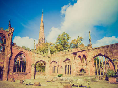 bombed: Vintage looking Ruins of bombed St Michael Cathedral, Coventry, England, UK Stock Photo