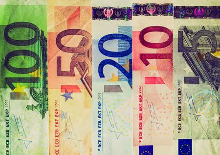 Vintage looking Euro banknote (currency of the European Union) Stock Photo