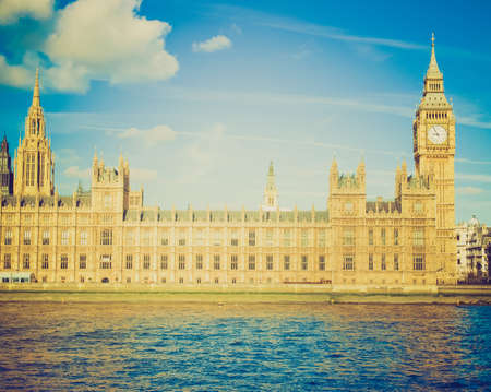 Vintage looking Houses of Parliament, Westminster Palace, London gothic architecture photo