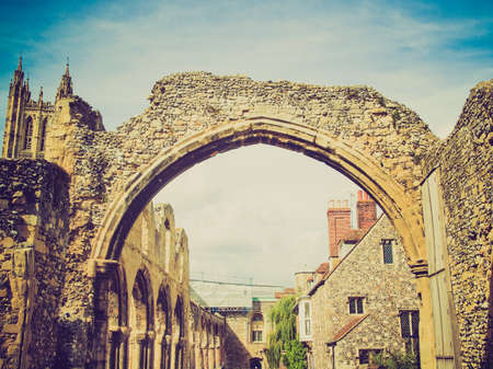 Vintage looking Ruins of St Augustine Abbey in Canterbury UK photo