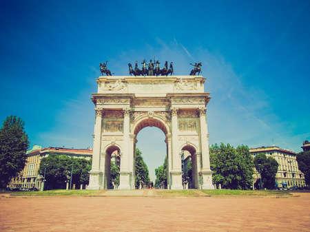 pace: Vintage looking Arco della Pace (Arch of Peace), Porta Sempione, Milan, Italy
