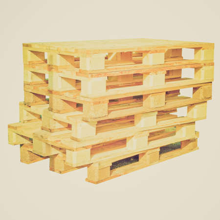 Vintage looking Pile of pallets isolated over white background Stock Photo - 27680194