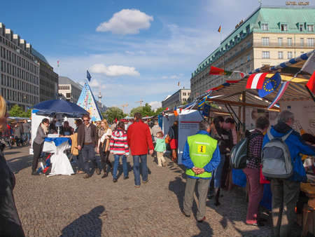 forthcoming: BERLIN, GERMANY - MAY 09, 2014: People at the Europafest at Brandenburg Gate for the forthcoming European elections