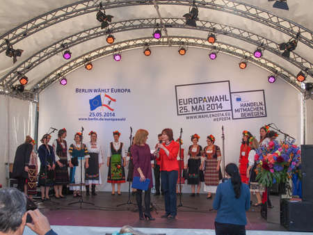 forthcoming: Bulgarian Voices Choir at the Europafest at Brandenburg Gate for the forthcoming European elections (Europawahl) moderated by Marion Pinkpank from Radio Berlin